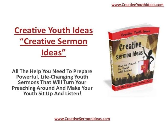 "www.CreativeYouthIdeas.com Creative Youth Ideas  ""Creative Sermon        Ideas""All The Help You Need To Prepare  Powerful,..."