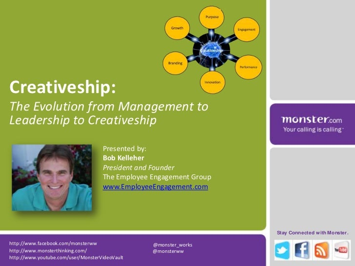Creativeship: <br />The Evolution from Management to Leadership to Creativeship<br />Presented by:<br />Bob Kelleher<br />...
