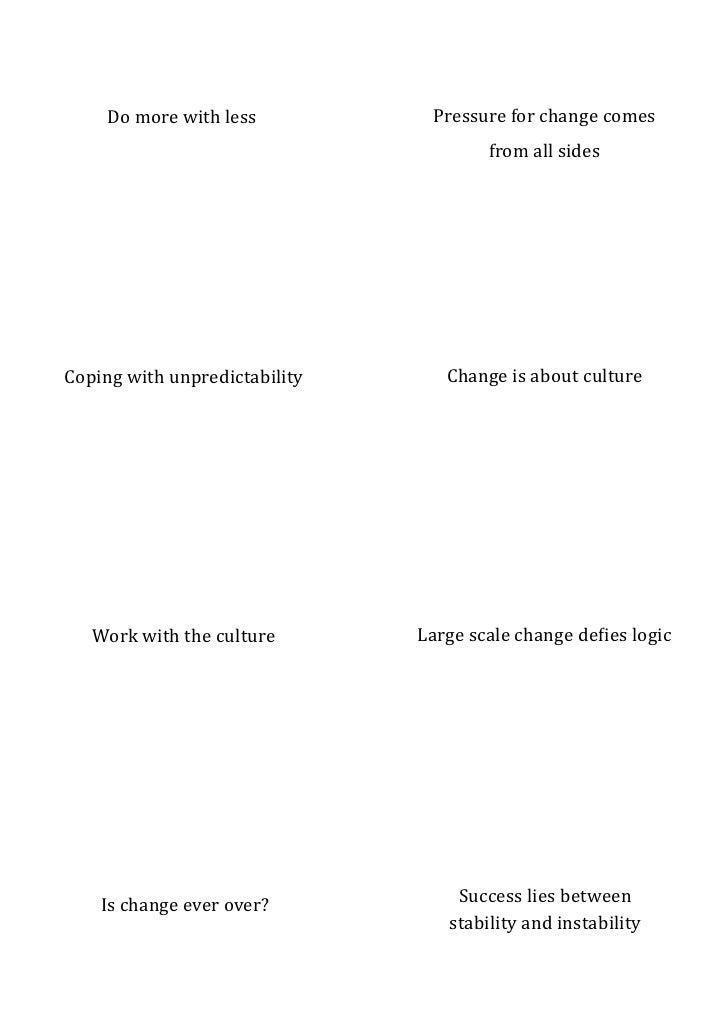 Creative thoughts on change