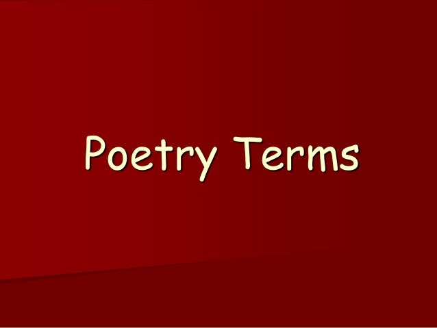 Creative Writing | Poetry Terms