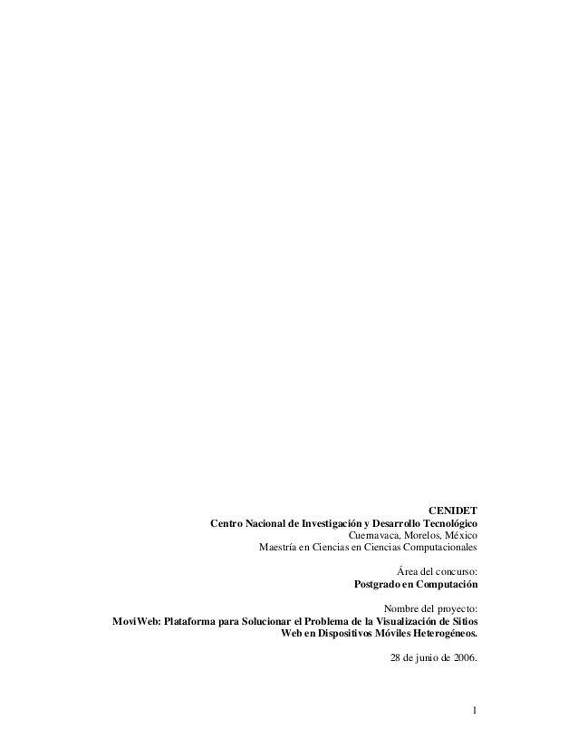 1 CENIDET Centro Nacional de Investigación y Desarrollo Tecnológico Cuernavaca, Morelos, México Maestría en Ciencias en Ci...