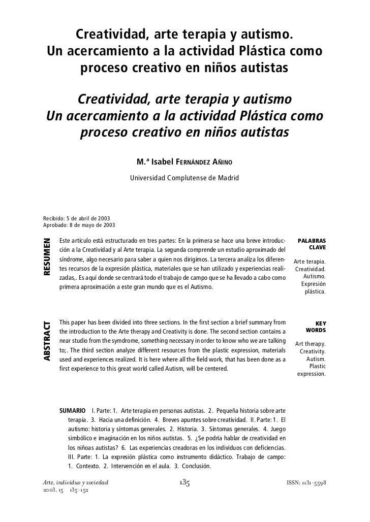 Creatividad, arte terapia y autismo.   Un acercamiento a la actividad Plástica como        proceso creativo en niños autis...