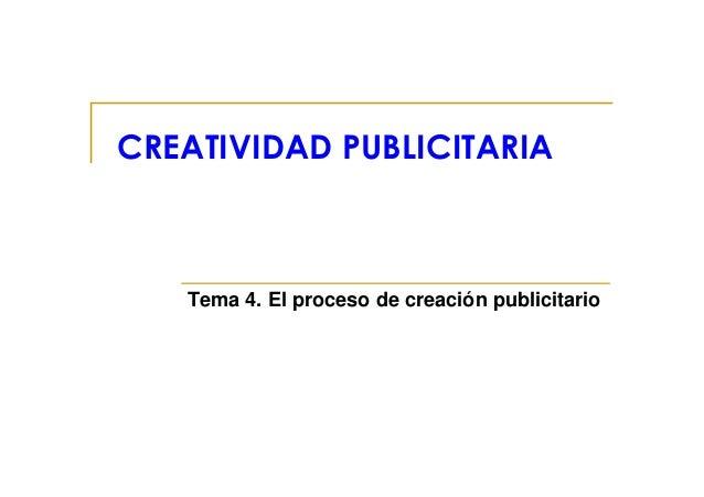 CREATIVIDAD PUBLICITARIA       Tema 4. El proceso de creación publicitario