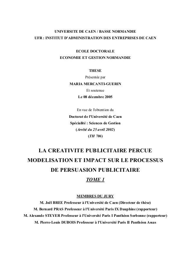 UNIVERSITE DE CAEN / BASSE NORMANDIEUFR : INSTITUT DADMINISTRATION DES ENTREPRISES DE CAENECOLE DOCTORALEECONOMIE ET GESTI...