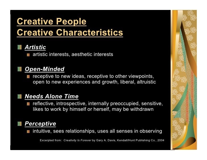characteristics of creative people From the sage social science collections all rights reserved at sage  publications on november 28, 2012 abssagepubcom downloaded from.