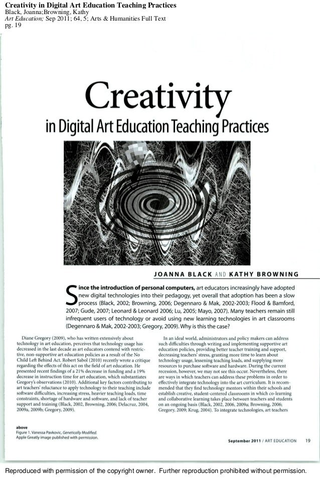 Creativity in digital art education teaching practices