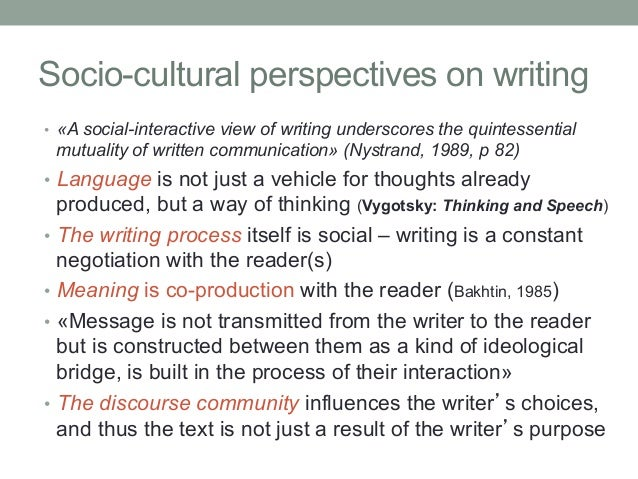 socio cultural perspectives essay Volume 8, no 3, art 21 – september 2007  a cultural psychological reflection on collaborative research flora cornish, tania zittoun & alex gillespie conference essay:.