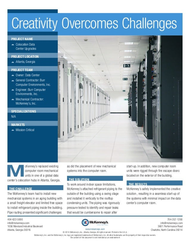 M cKenney's replaced existing computer room mechanical units in one of a global data center's colocation hubs in Atlanta, ...
