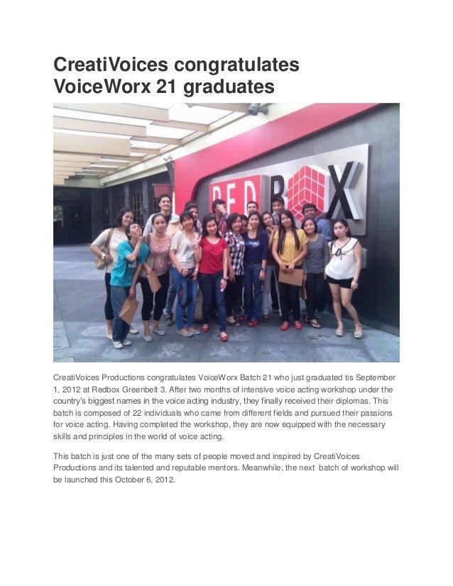 CreatiVoices congratulatesVoiceWorx 21 graduatesCreatiVoices Productions congratulates VoiceWorx Batch 21 who just graduat...