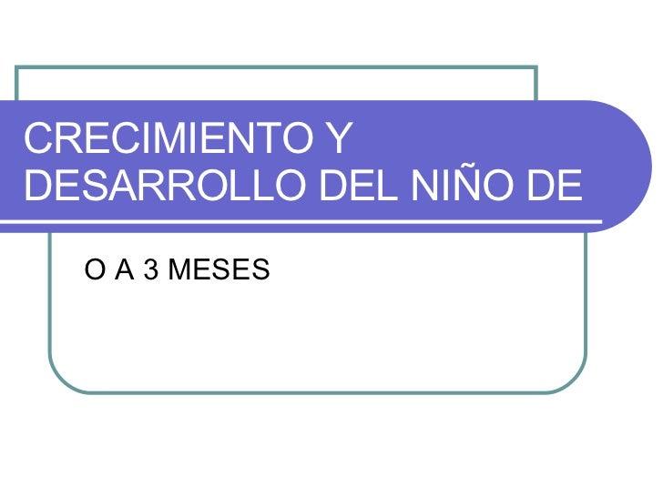 CRECIMIENTO Y DESARROLLO DEL NIÑO DE O A 3 MESES