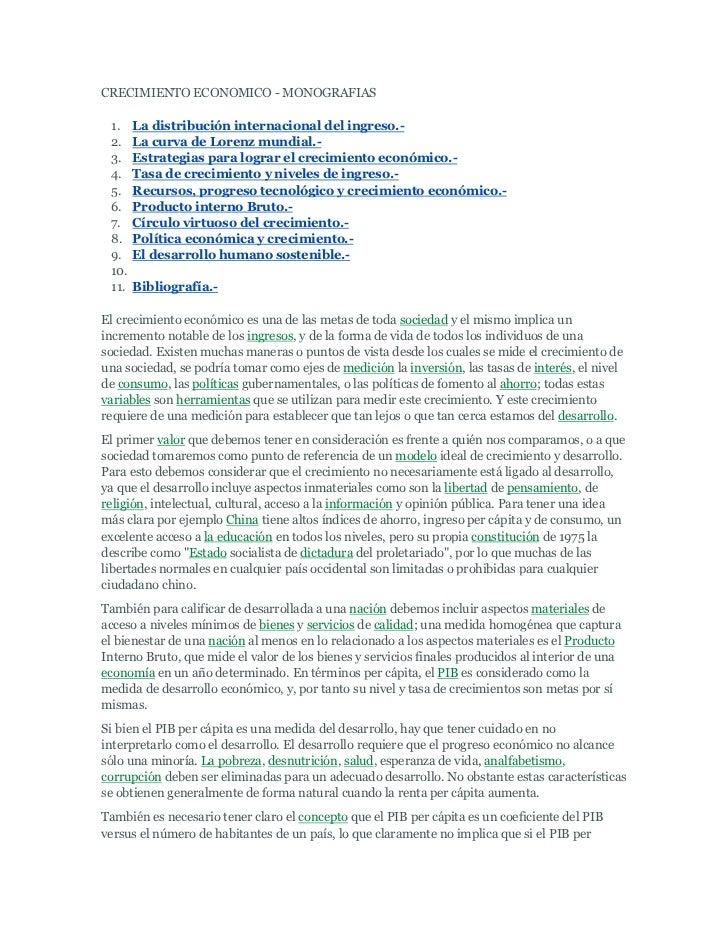 CRECIMIENTO ECONOMICO - MONOGRAFIAS<br />La distribución internacional del ingreso.- <br />La curva de Lorenz mundial.- <b...