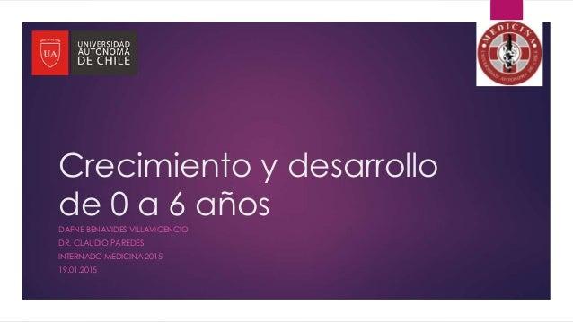 Crecimiento y desarrollo de 0 a 6 años DAFNE BENAVIDES VILLAVICENCIO DR. CLAUDIO PAREDES INTERNADO MEDICINA 2015 19.01.2015