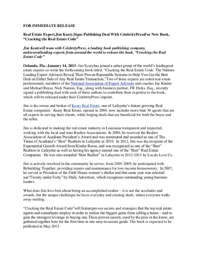 """FOR IMMEDIATE RELEASEReal Estate Expert,Jim Keaty,Signs Publishing Deal With CelebrityPressFor New Book,""""Cracking the Real..."""