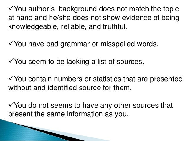 Credible sources for research paper