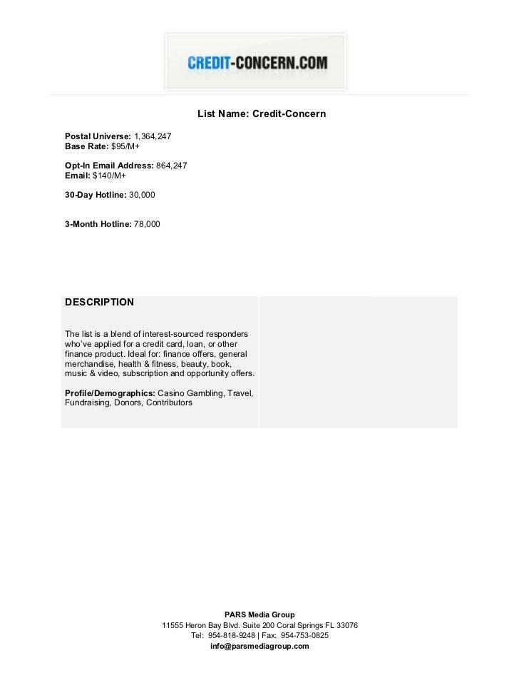 Credit-Concern.com Datacard