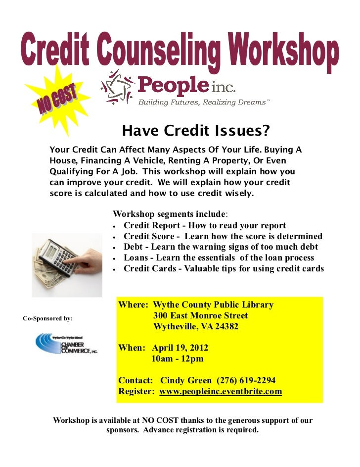 Credit Counseling Workshop Wytheville April 19,  2012