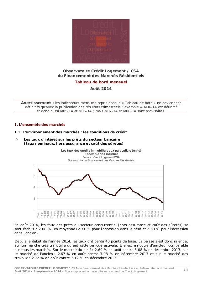 OBSERVATOIRE CRÉDIT LOGEMENT / CSA du Financement des Marchés Résidentiels –- Tableau de bord mensuel Août 2014 – 3 septem...