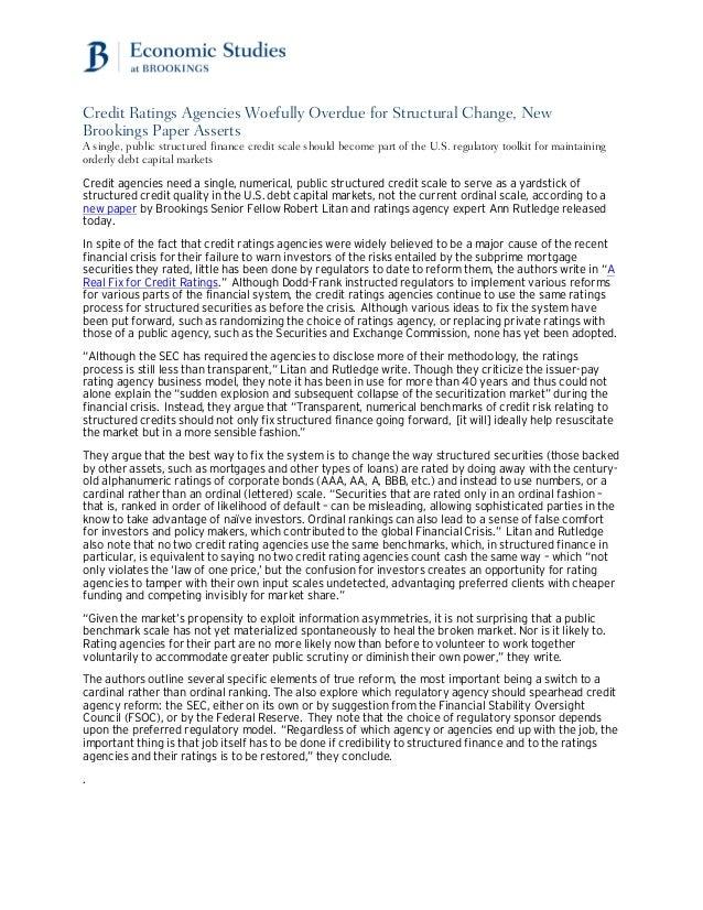 Credit Ratings Fix: Brookings Release