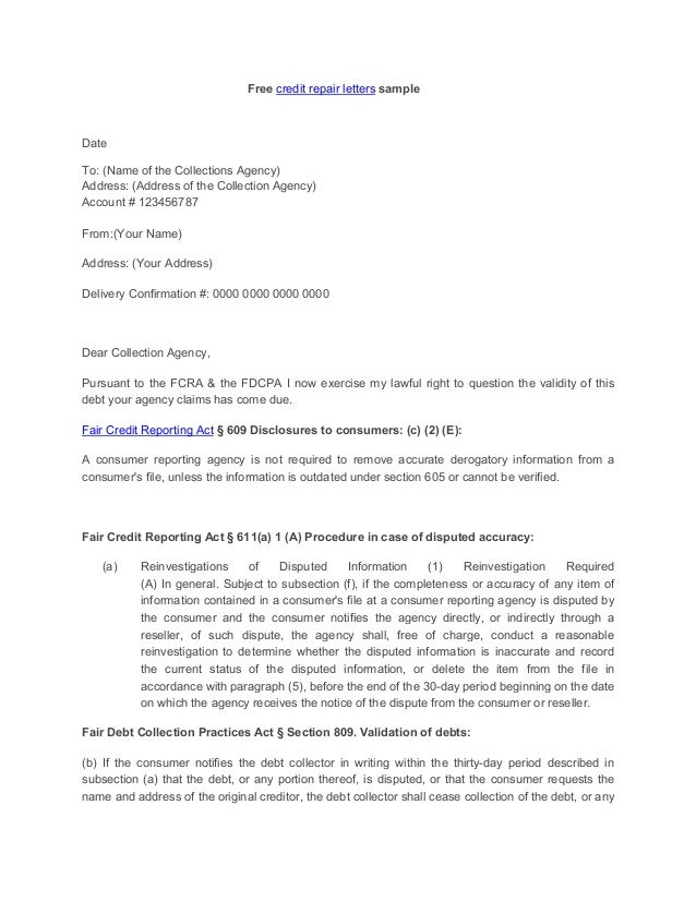 letter to creditor