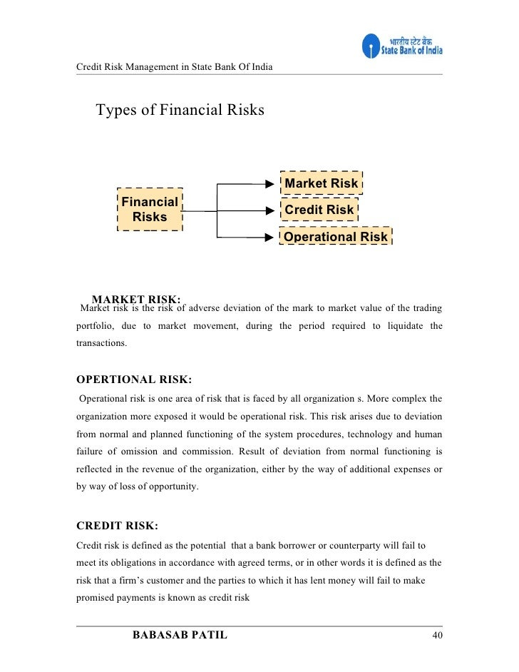 report on credit risk management of sbi The office of credit risk management conducts a continuous, risk based, off-site analysis of sba's lending partners through the loan/lender monitoring system.