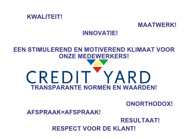 Credit Yard Group Presentatie 20091223