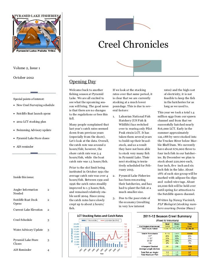 Creel ChroniclesVolume 2, Issue 1October 2012                                  Opening Day                                ...