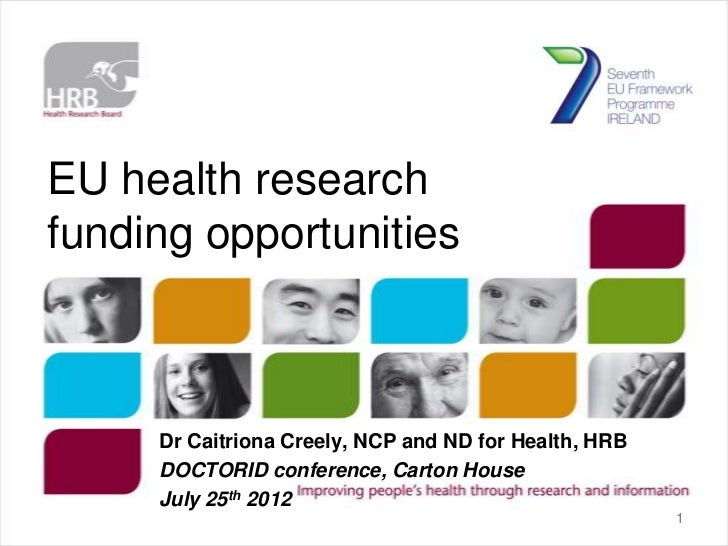 EU health researchfunding opportunities     Dr Caitriona Creely, NCP and ND for Health, HRB     DOCTORID conference, Carto...