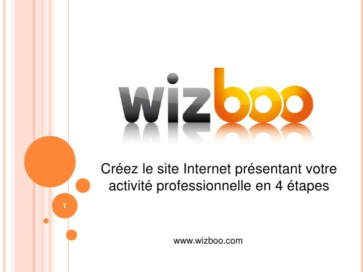 Créez le site Internet présentant votre activité professionnelleen 4 étapes<br />1<br />www.wizboo.com<br />