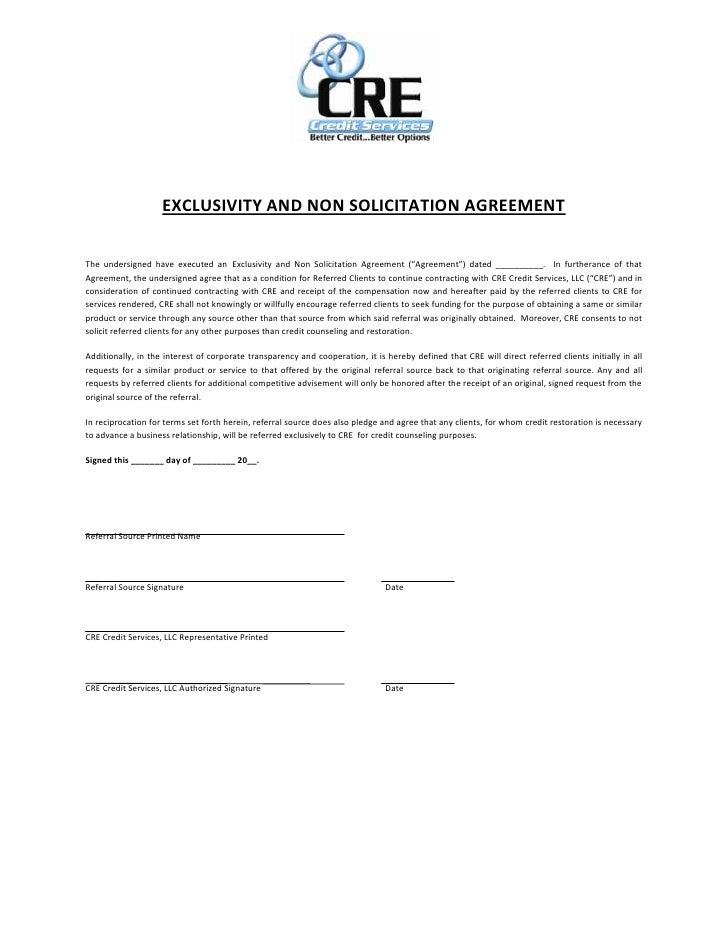 "EXCLUSIVITY AND NON SOLICITATION AGREEMENTThe undersigned have executed an Exclusivity and Non Solicitation Agreement (""Ag..."
