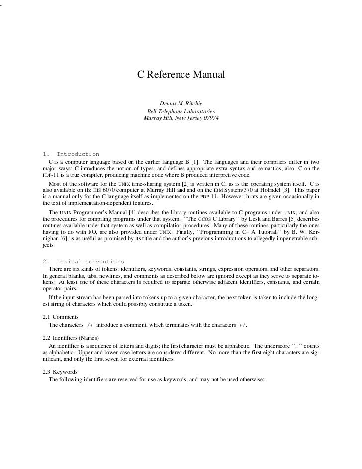 C reference manual