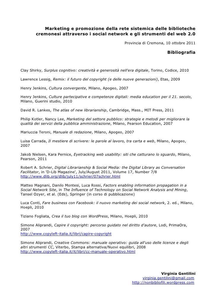 Cremona 2011 bibliografia