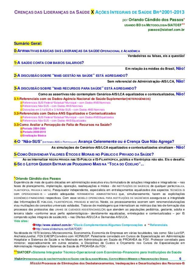 Crenças das Lideranças da Saúde X Ações Integrais de Saúde Br^2001-2013