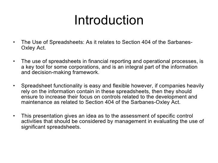 team4 section404 final report Sarbanes-oxley act section 404 sarbanes oxley act summary the sarbanes-oxley act explained information, guidence and resources covering the legislation.