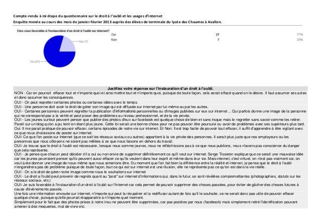 Compte-rendu à mi étape du questionnaire sur le droit à l'oubli et les usages d'internetEnquête menée au cours des mois de...