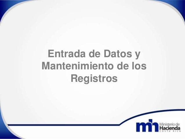 Entrada de Datos y Mantenimiento de los Registros