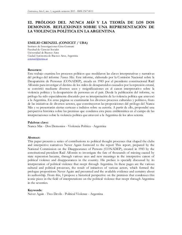 Contenciosa, Año I, nro. 1, segundo semestre 2013 - ISSN 2347-0011 EL PRÓLOGO DEL NUNCA MÁS Y LA TEORÍA DE LOS DOS DEMONIO...