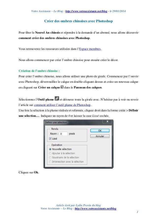 Votre Assistante – Le Blog : http://www.votreassistante.net/blog - le 29/01/2014  Créer des ombres chinoises avec Photosho...