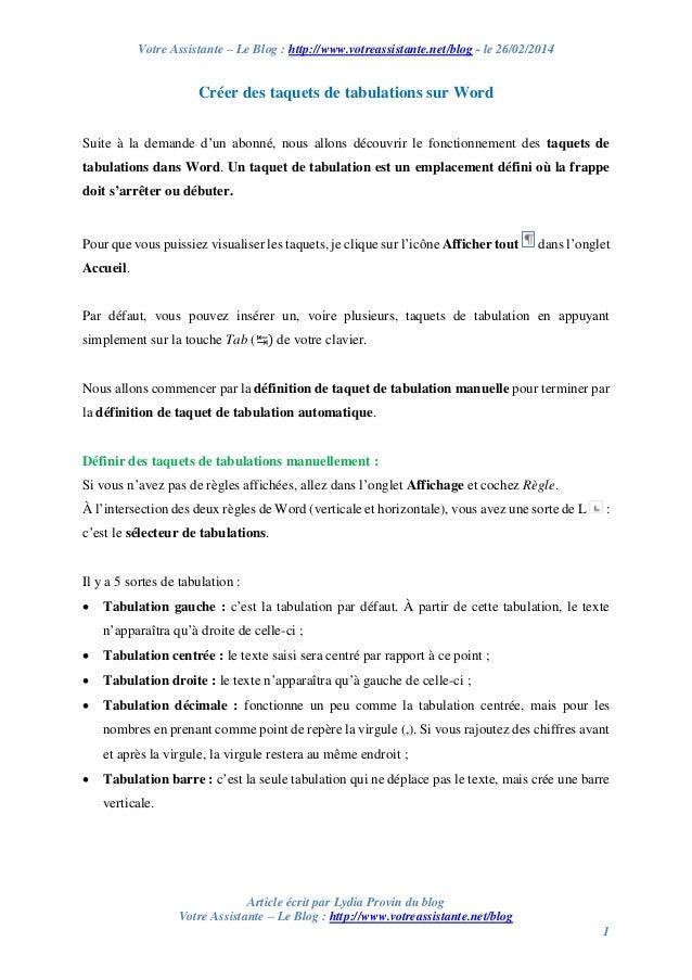 Votre Assistante – Le Blog : http://www.votreassistante.net/blog - le 26/02/2014  Créer des taquets de tabulations sur Wor...