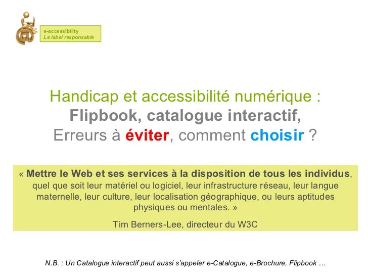 Créer un Catalogue flash accessible - E-accessibility