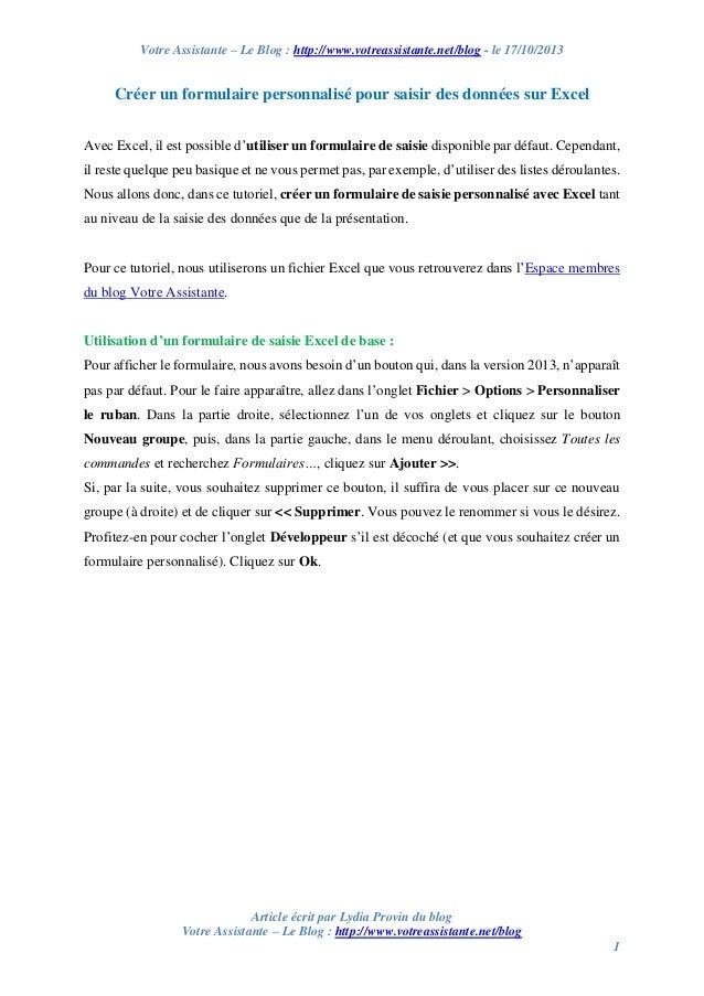 Votre Assistante – Le Blog : http://www.votreassistante.net/blog - le 17/10/2013  Créer un formulaire personnalisé pour sa...