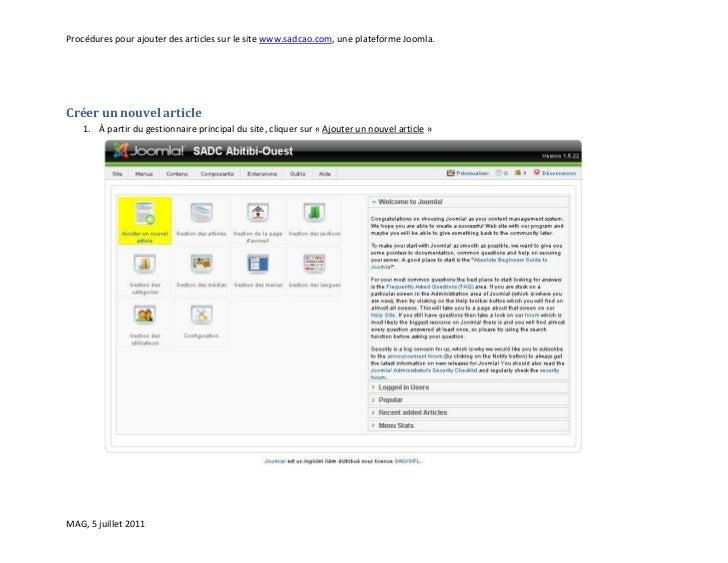 Procédures pour ajouter des articles sur le site www.sadcao.com, une plateforme Joomla.Créer un nouvel article   1. À part...
