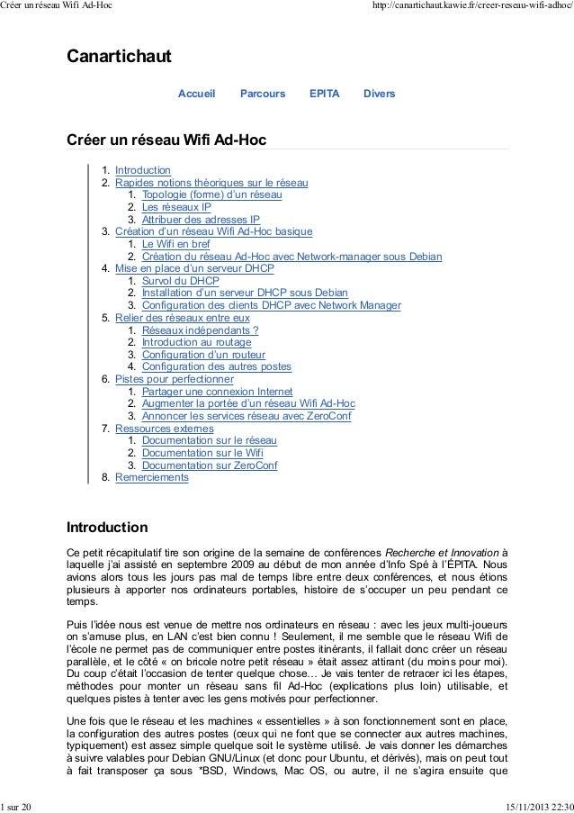 Créer un réseau Wifi Ad-Hoc  1 sur 20  http://canartichaut.kawie.fr/creer-reseau-wifi-adhoc/  Canartichaut Accueil  Parcou...