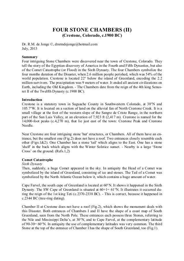 FOUR STONE CHAMBERS (II) (Crestone, Colorado, c.1900 BC) Dr. R.M. de Jonge ©, drsrmdejonge@hotmail.com July, 2013 Summary ...