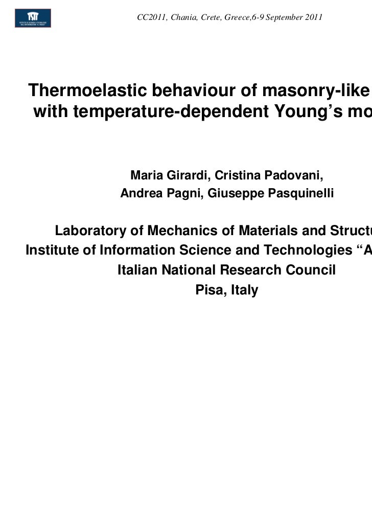 CC2011, Chania, Crete, Greece,6-9 September 2011Thermoelastic behaviour of masonry-like solidswith temperature-dependent Y...