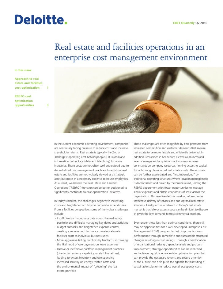 CRET Quarterly Q2 2010                                 Real estate and facilities operations in an                        ...