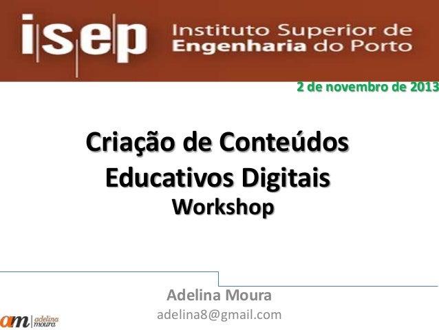 Criação de conteúdos educativos digitais
