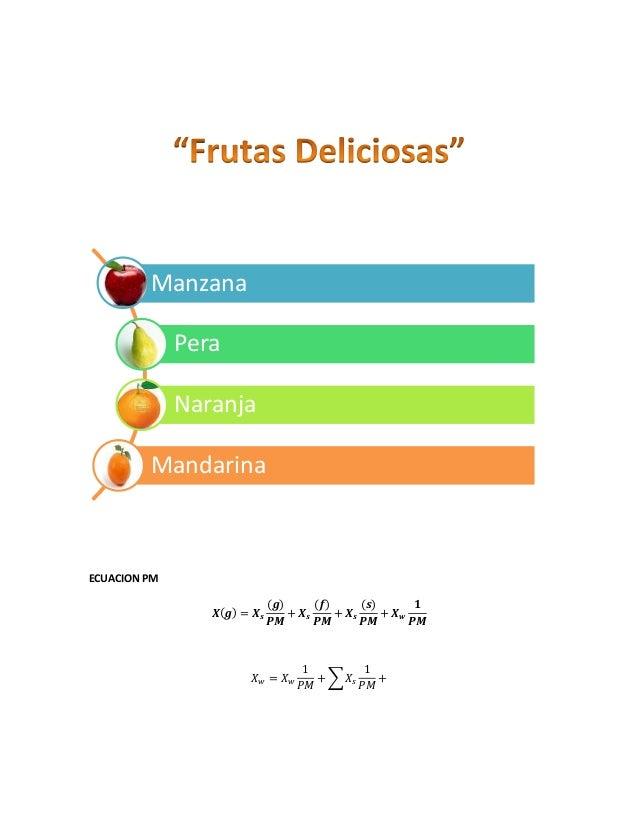 Manzana Pera Naranja Mandarina  ECUACION PM 𝑿(𝒈) = 𝑿 𝒔  (𝒈) (𝒇) (𝒔) 𝟏 + 𝑿𝒔 + 𝑿𝒔 + 𝑿𝒘 𝑷𝑴 𝑷𝑴 𝑷𝑴 𝑷𝑴  𝑋𝑤 = 𝑋𝑤  1 1 + ∑ 𝑋𝑠 + 𝑃𝑀...