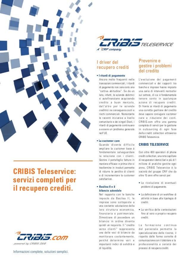 I Nostri Prodotti: CRIBIS TELESERVICE