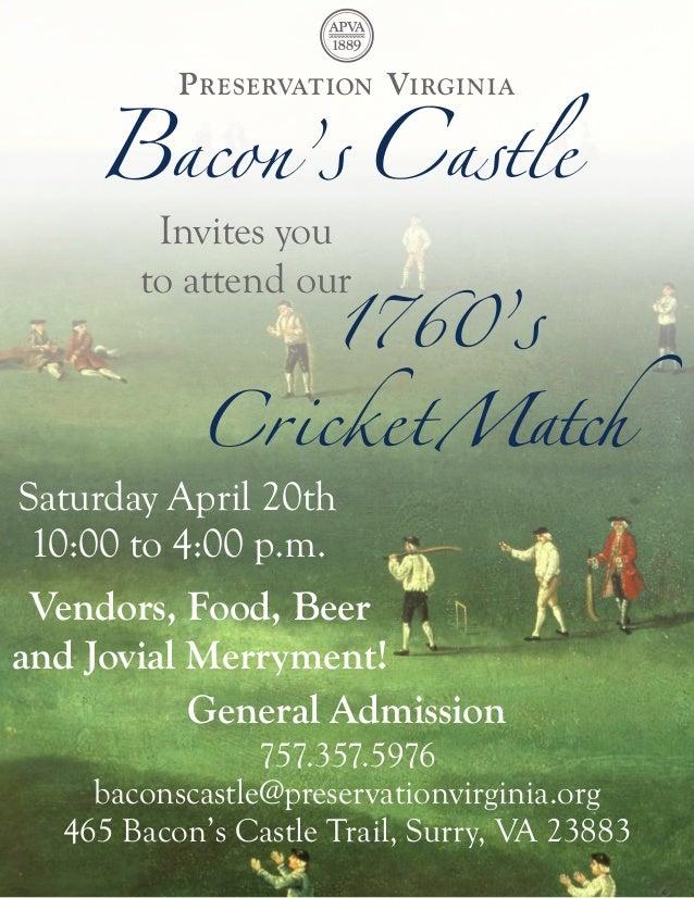 Bacon's Castle's 1760s Cricket Match