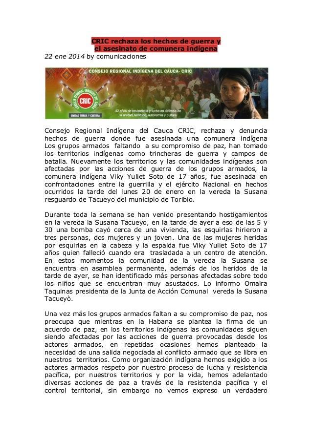 CRIC rechaza los hechos de guerra y el asesinato de comunera indígena